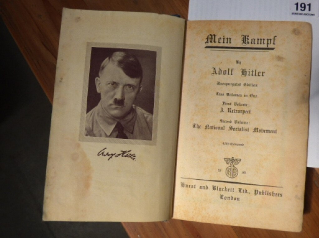 A copy of Hitler's manifesto Mein Kampf is on offer at Armitage Auctions in Launceston. Picture: SUPPLIED