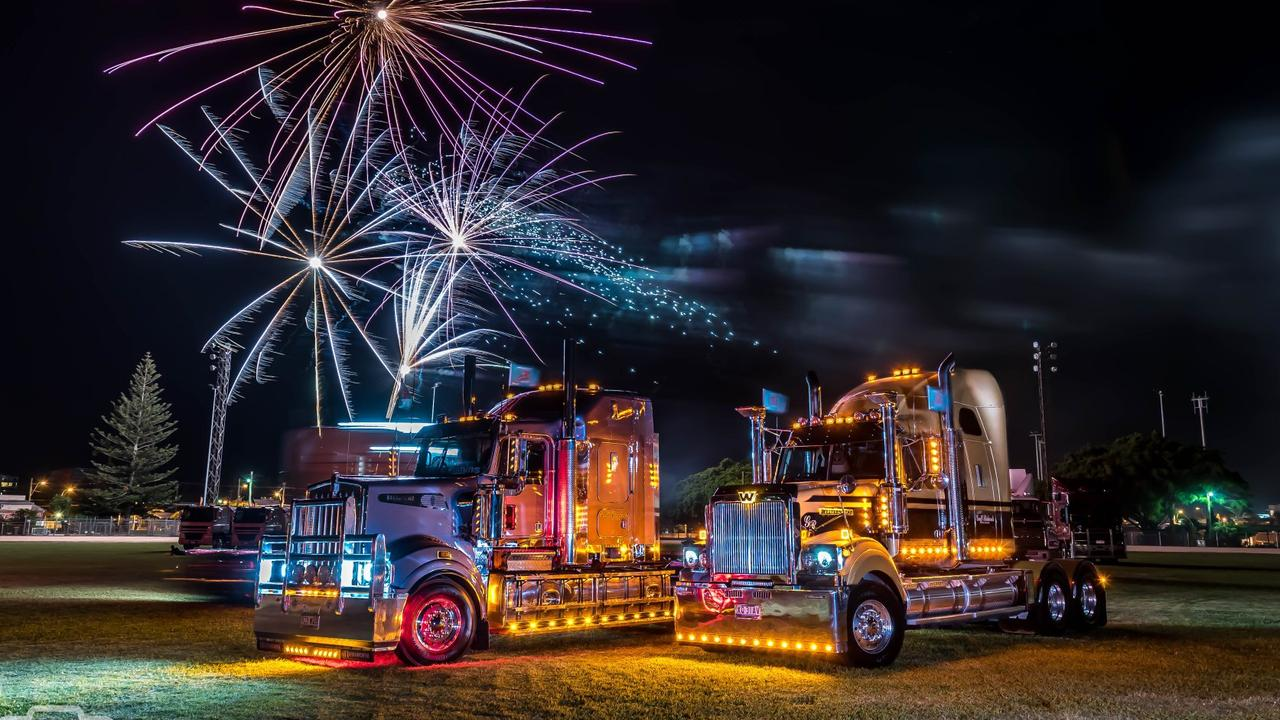 Trucks and fireworks at the truck show as part of Convoy for Kids Brisbane. Picture: Shutter Shock Photography
