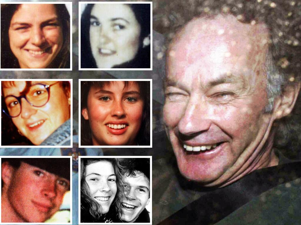 Convicted murderer Ivan Milat next to his seven victims. Picture: Rick Rycroft