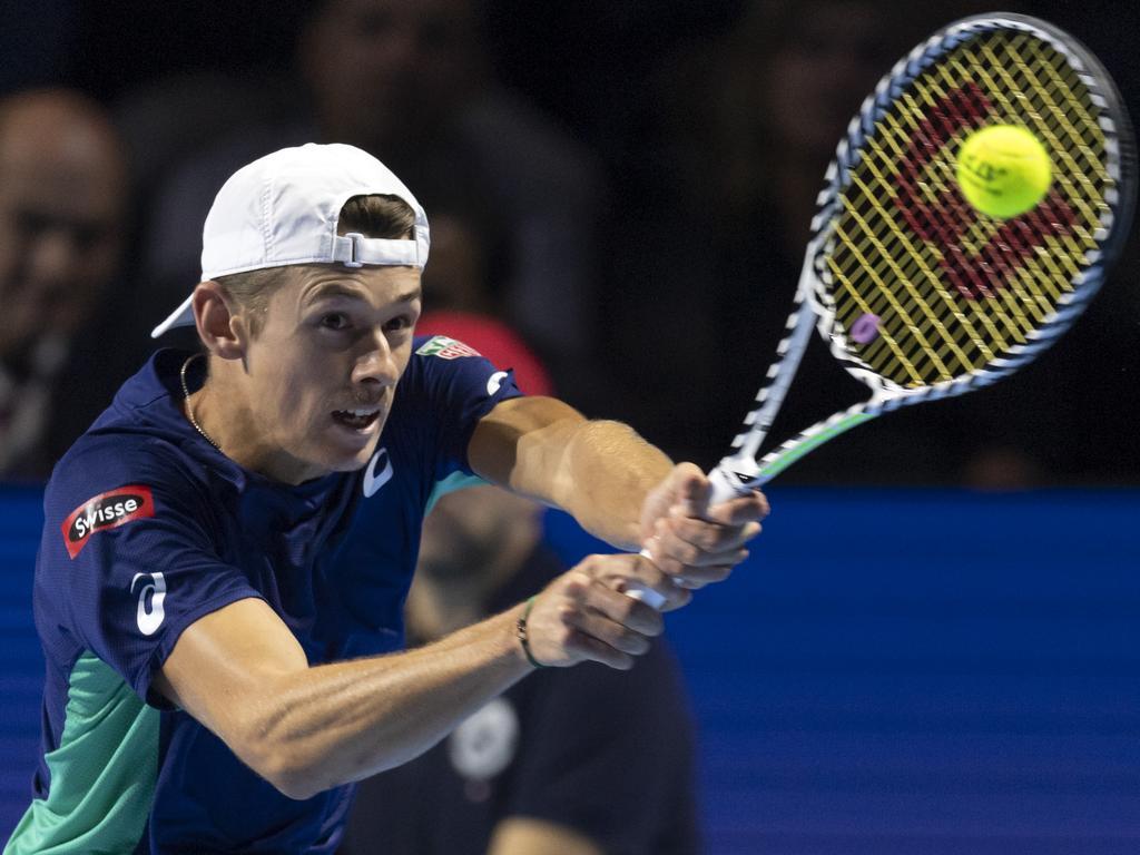 Alex De Minaur climbs into the world top-20 rankings despitre his loss to Roger Federer. Picture: Georgios Kefalas
