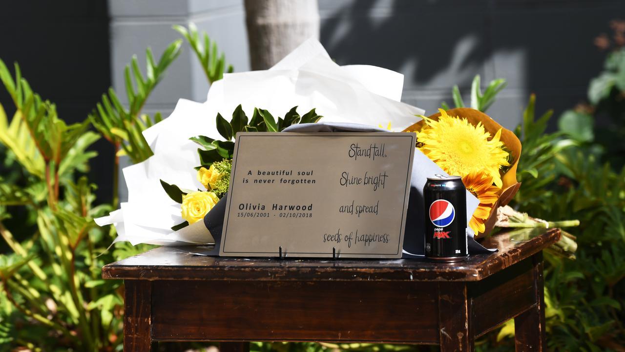 Unveiling the plaque for Olivia's Memorial sculpture.