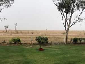 Rain has arrived in Blackall, QLD.