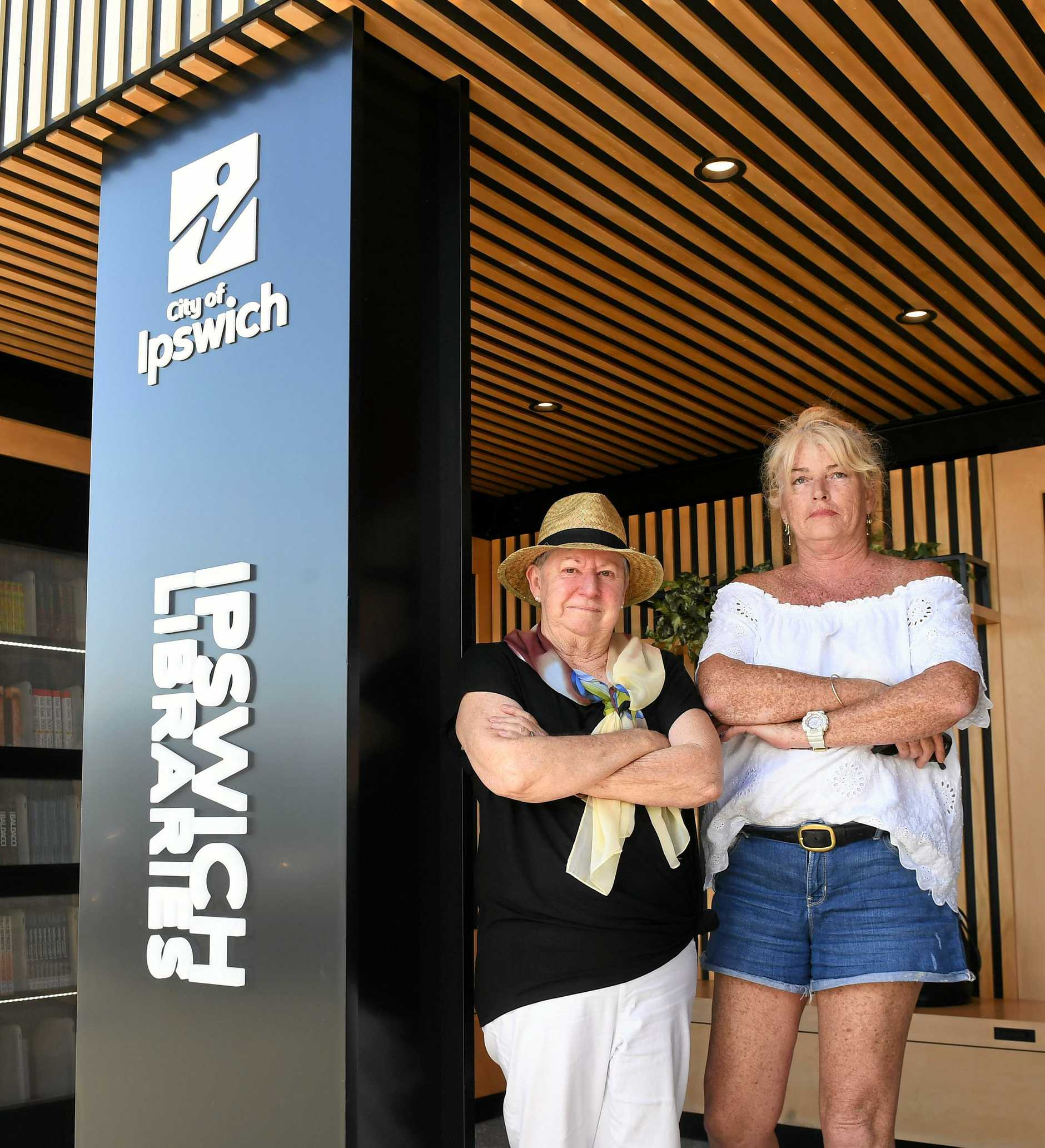 UNHAPPY: Karalee residents Sue Bullock and Gina Green want the mobile library back.