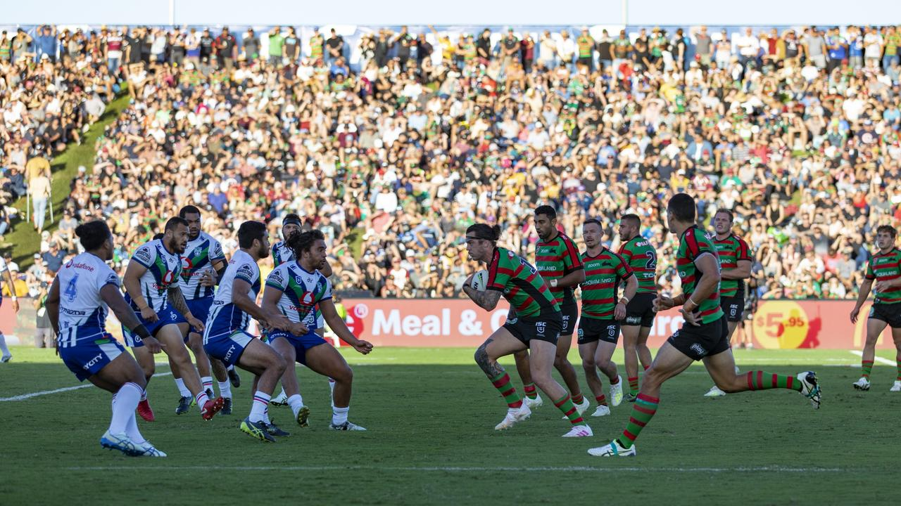 The South Sydney Rabbitohs playing the New Zealand Warriors in Round 22 on Saturday August 15 at the Sunshine Coast Stadium. Photo: Barry John Alsop