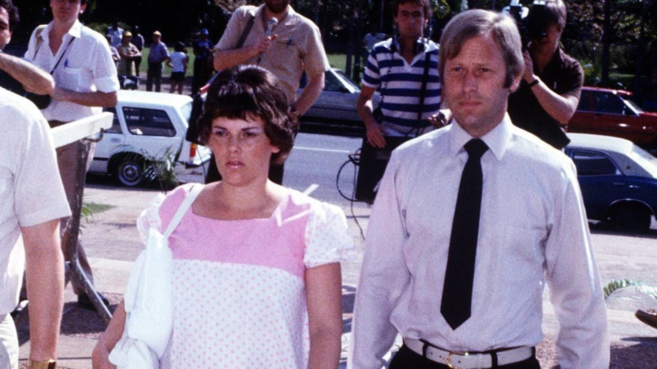 Lindy Chamberlain, with husband Michael, at her trial in Darwin in 1982.