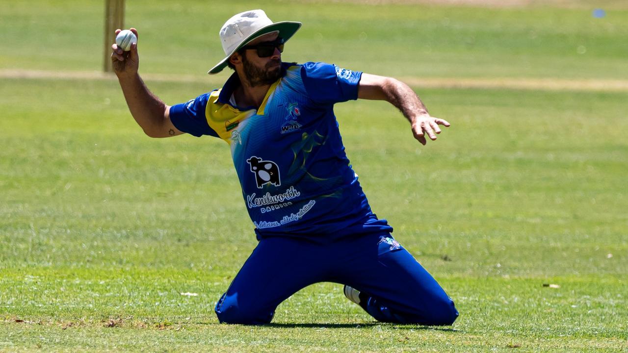 Gympie Regional Cricket – Colts v Kenilworth Kenilworth player Chris Mordey handy in the field.