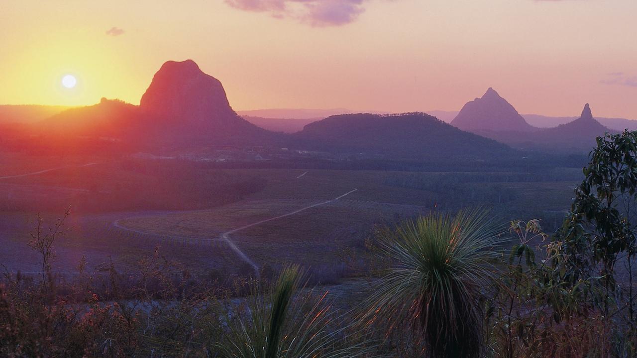 Sunset over Glasshouse Mountains