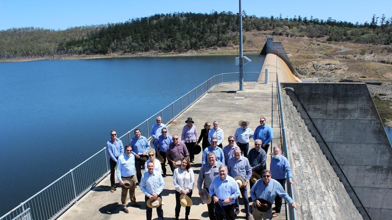 North Burnett and Bundaberg councillors at a meeting at Paradise Dam on October 3.