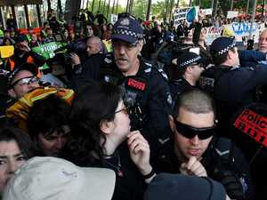 Police horse assaulted as protest erupts