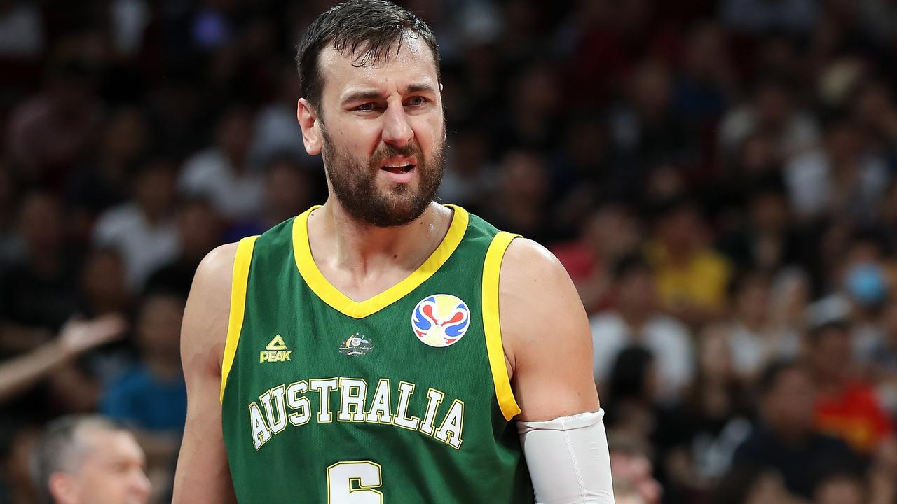 Andrew Bogut reacts to a call during Australia's loss to Spain. Picture: Lintao Zhang/Getty