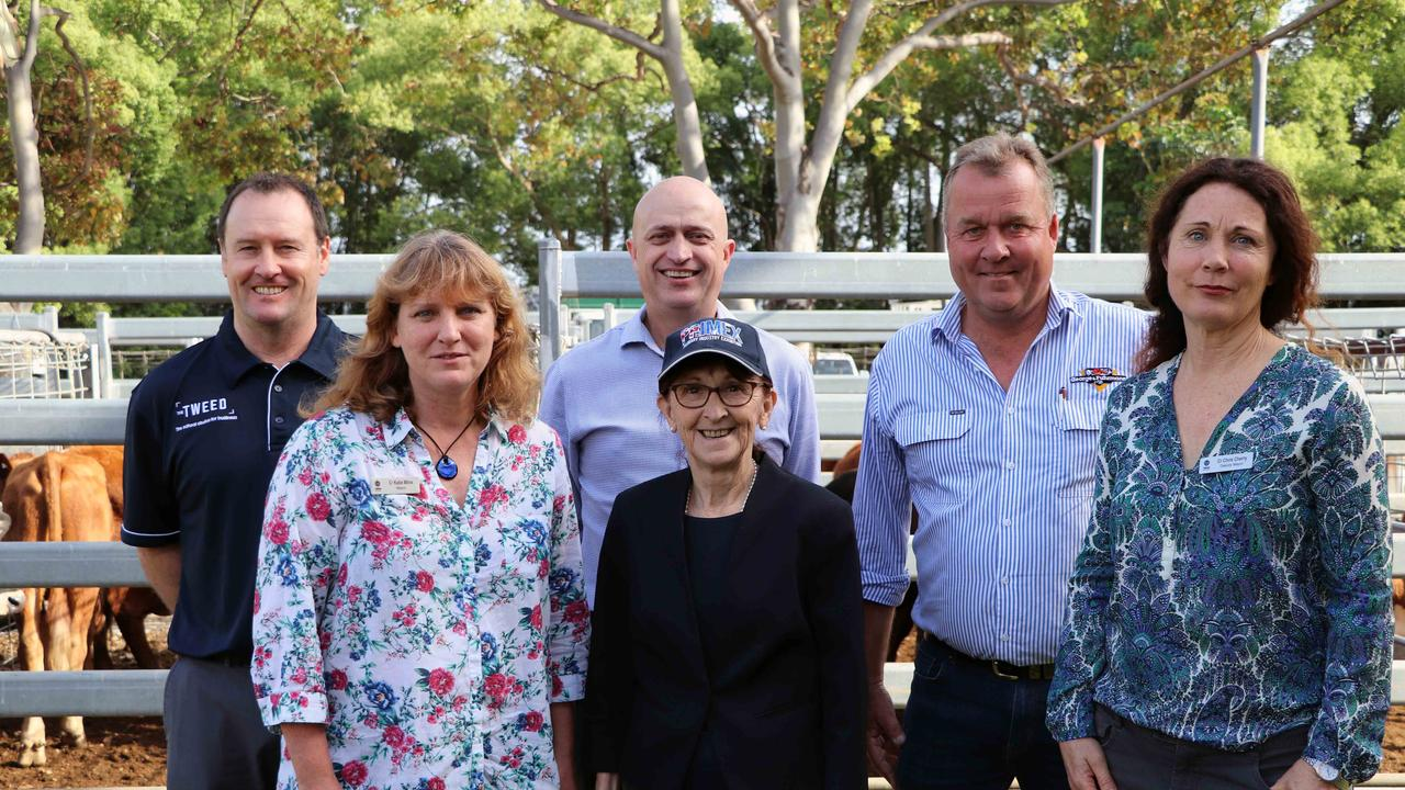Inspecting the $120,000 upgrade to the Murwillumbah Saleyards were Acting Manager Land and Economic Development Ray Musgrave, Mayor of Tweed Katie Milne, Tweed Shire Council General Manager Troy Green, Member for Lismore, Janelle Saffin, George and Furmann's Darren Perkins and Deputy Mayor of Tweed, Chris Cherry.