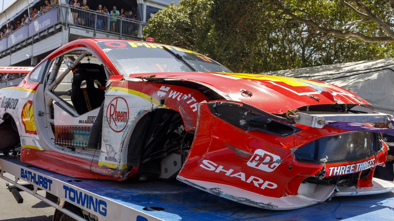 Scott McLaughlin's car was totalled in the crash. Picture: Supercars Australia