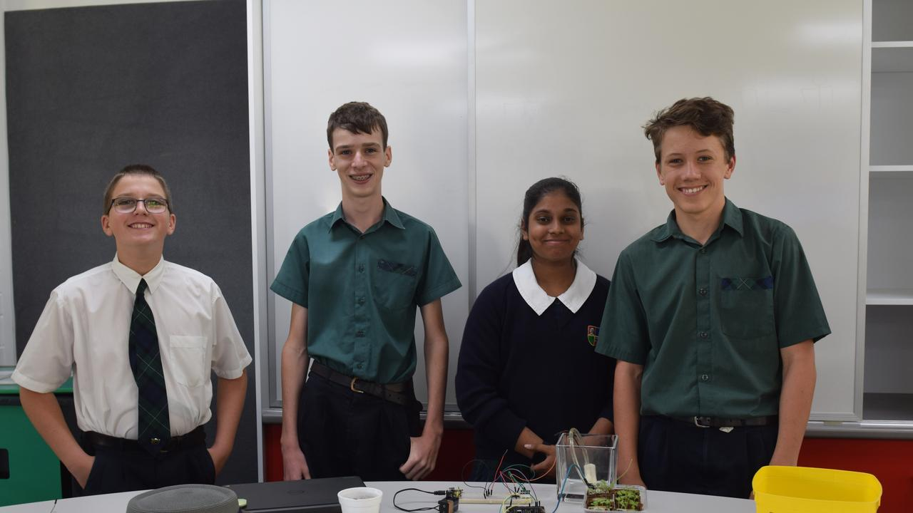 FUTURE DIGI-FARMERS: Lewis Drake, Justice Rockloff, Aanya Kosgallana and Blake Hupalo working together to create sustainable and technical solutions for agriculture.