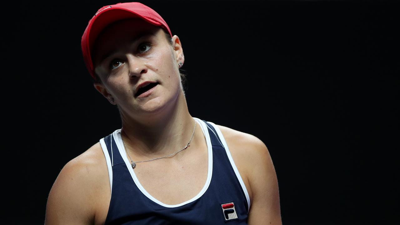 Ashleigh Barty shows her frustration during her match against Kiki Bertens.
