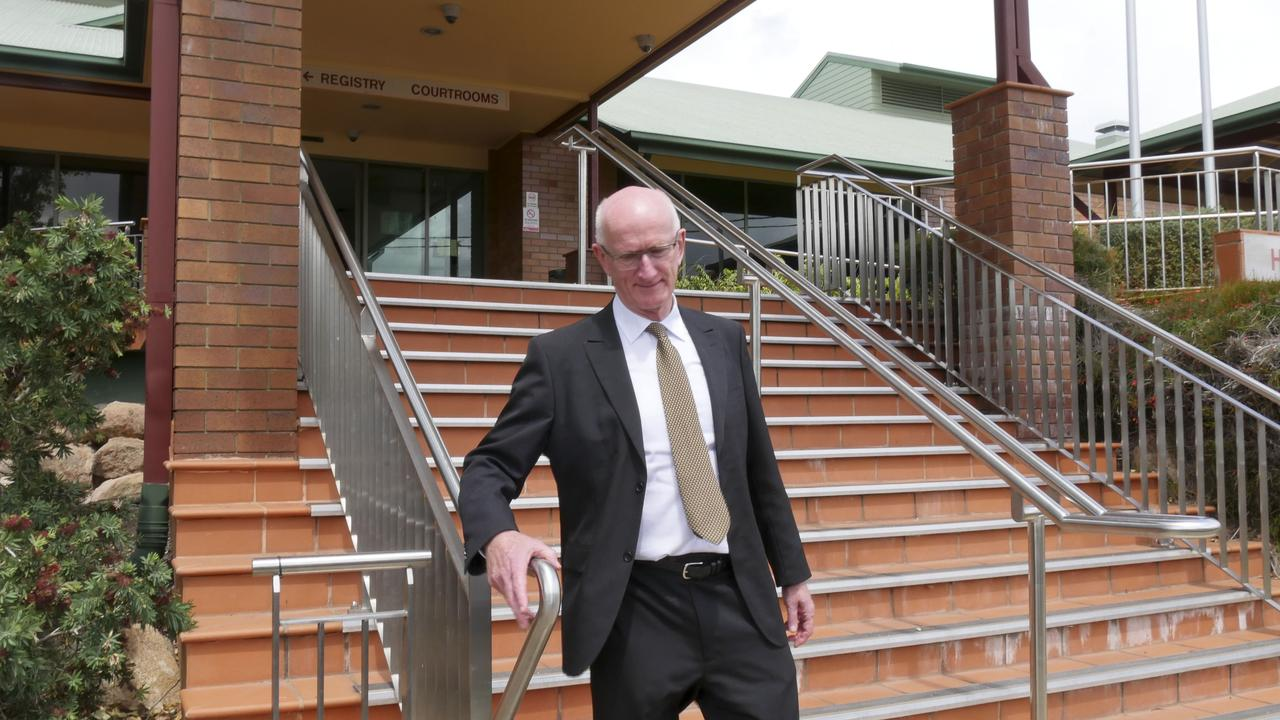 Former Fraser Coast mayor Chris Loft leaving the Hervey Bay court house during day one of his trial