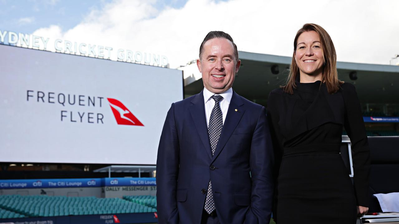 Qantas CEO Alan Joyce with Chief Executive of Qantas's loyalty business Olivia Wirth. Picture: Adam Yip