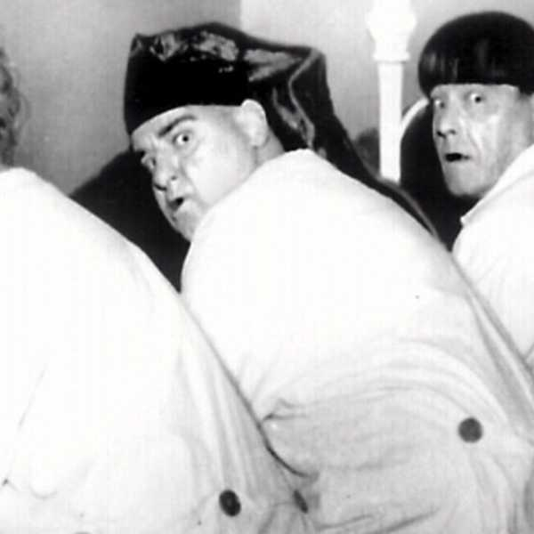 Actors (l-r) Larry Fine, Joe (Curly) DeRita and Moe Howard as the Three Stooges comedy trio in 1960.