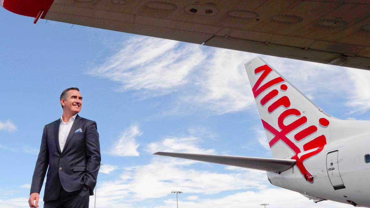 Virgin Australia CEO Paul Scurrah announced the airline's new daily service from Brisbane to Tokyo today. Picture: Jeremy Piper