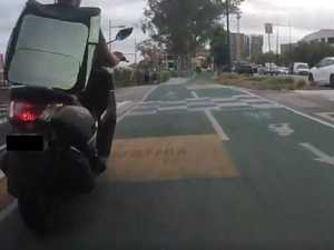 WATCH: Delivery rider's shocking bike path move