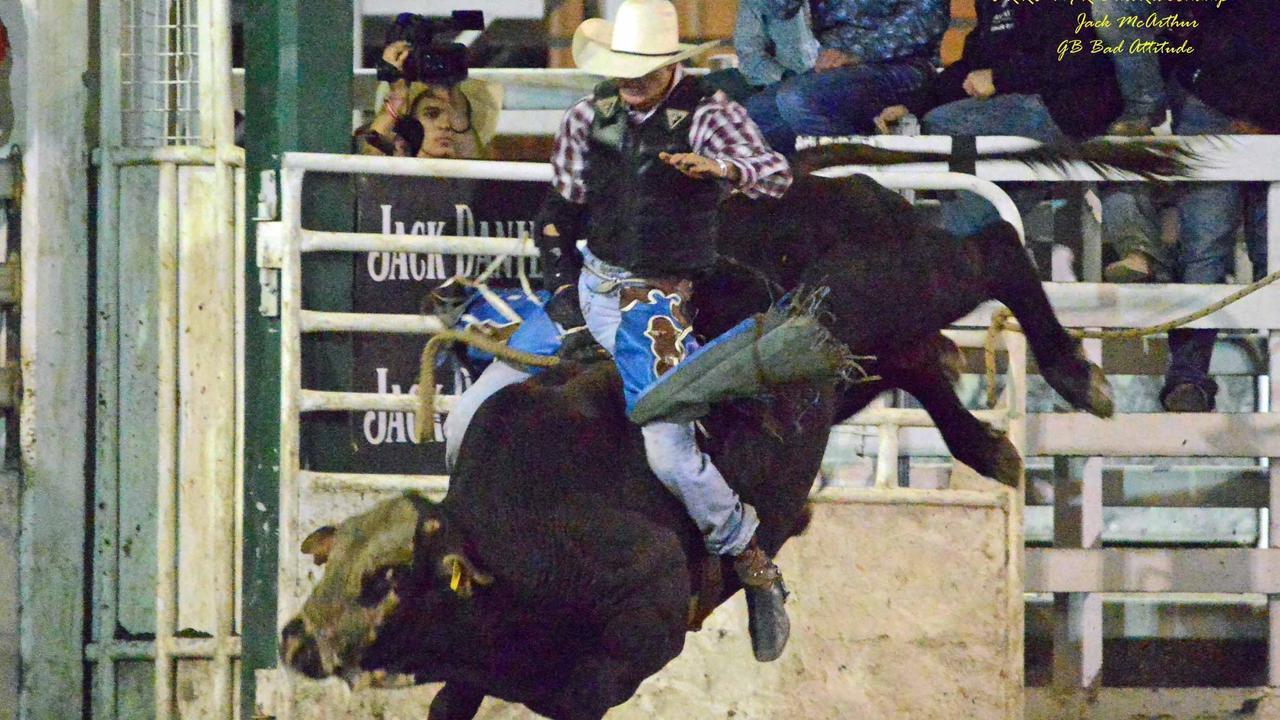 Warwick Rodeo Bull Riding Champion, Jack McArthur, riding Bad Attitude.