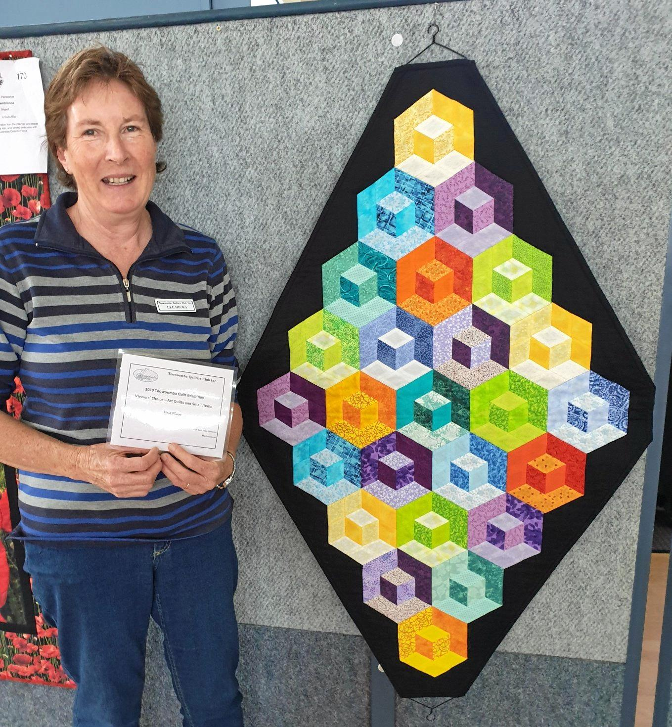 Lee Hicks 'Block in a Block' - Winner Viewers Choice Small Items - at Quilt Exhibition held September 21-27, 2019 in Toowoomba.