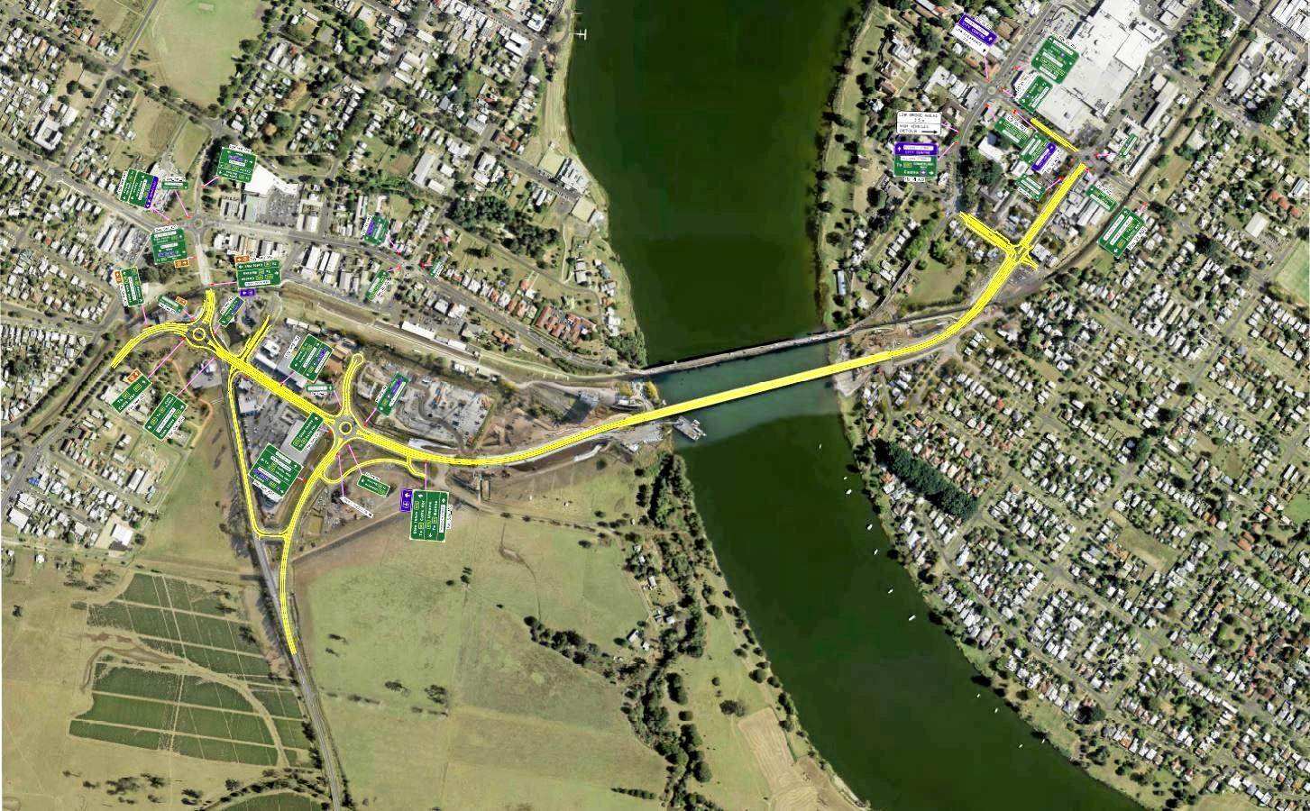 Grafton Clarence River crossing stage three directional signage plan for project completion.
