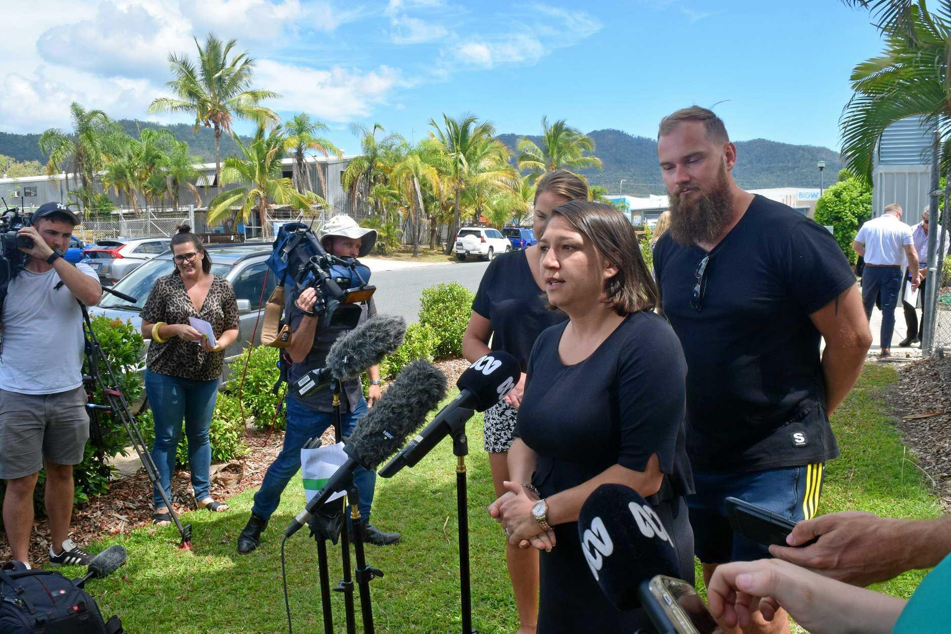 Tourism Whitsunday CEO Tash Wheeler addresses media following double shark attacks at Hook Passage.