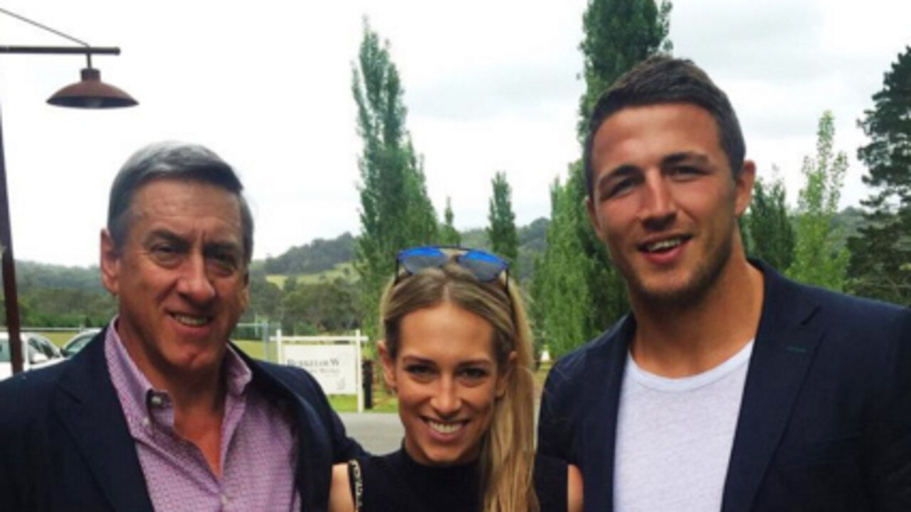 Mitch Hooke, Sam Burgess and Phoebe Hooke. Picture: Instagram