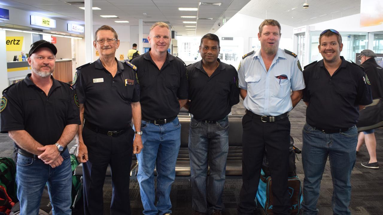 Rural Fire Service volunteers Damien Fowler, Errol Noye, Ian Hartley, Mohammed Shamim, Ben MacCarthy and Josh Jasinski are on their way to Glen Innes to help fight the bush fires
