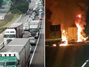 Fiery M1 four-truck crash mayhem