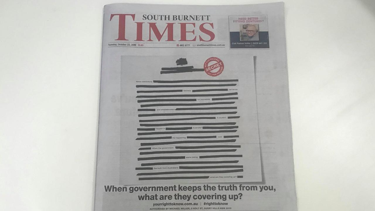 LOCAL MEDIA: The South Burnett Times ran the Right To Know campaign on the front of their Tuesday, October 20 edition.