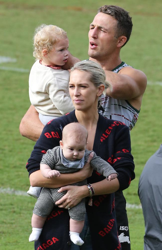 The family together at Redfern Oval in March. Picture: Richard Dobson