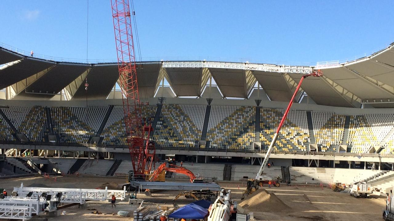 The North Queensland Stadium under construction.