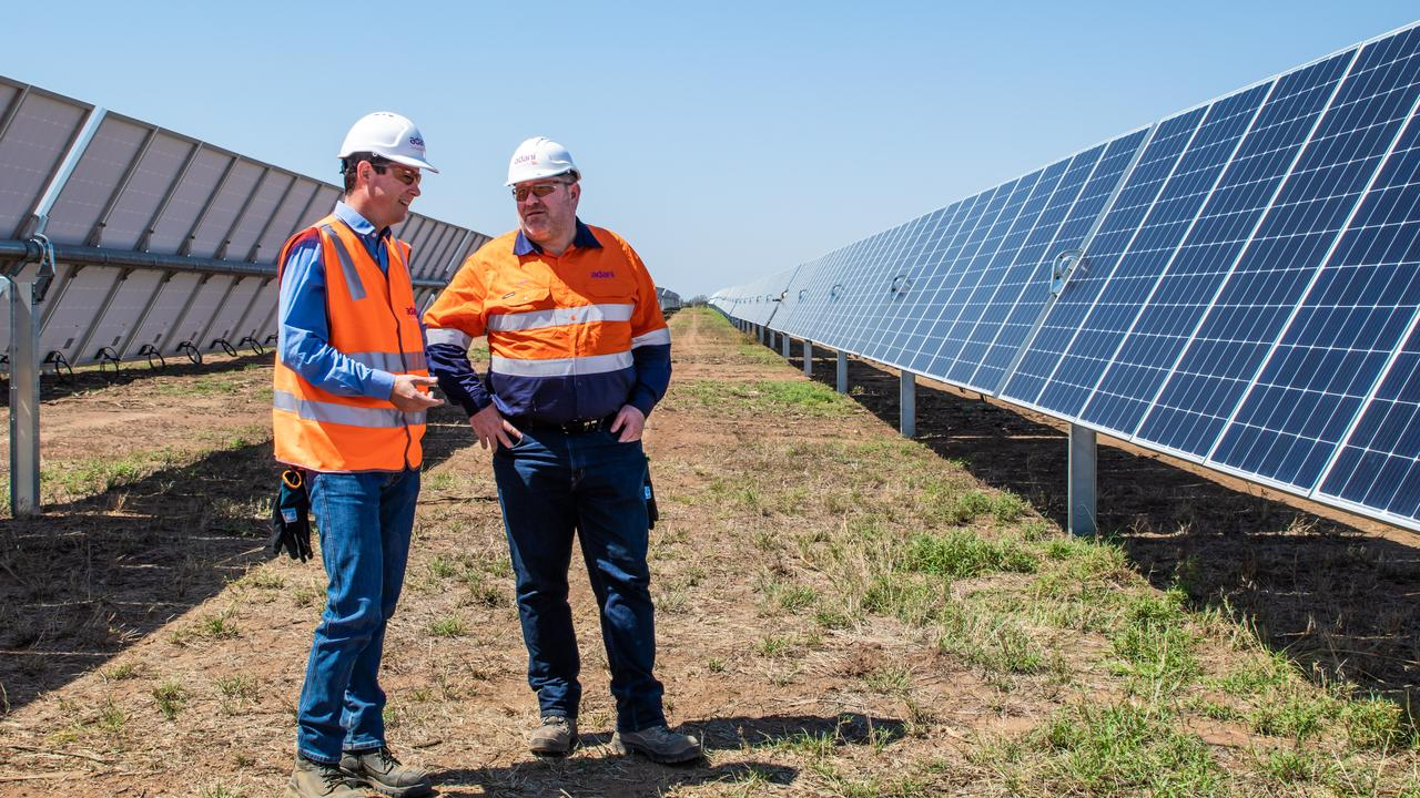 SOLAR FARM: Lucas Dow, Adani CEO and Ian Sedgman, Adani Renewables manager at Rugby Run site.
