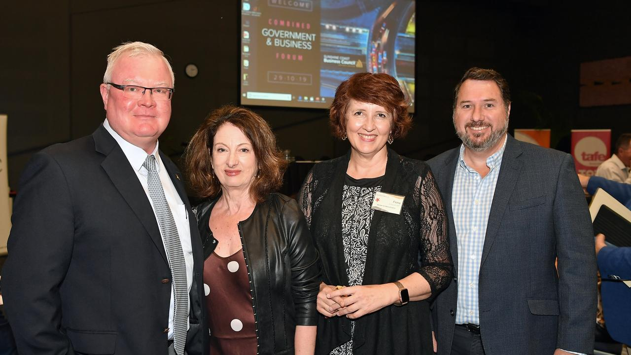 (Left to right)Ross Elliot from APP, Sunshine Coast Business Council Chair Sandy Zubrinich, Member for Maroochydore Fiona Simpson and Member for Glass House Andrew Powell. Photo: Patrick Woods