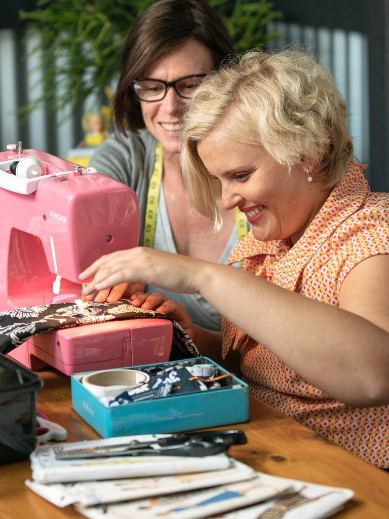OH SEW HAPPY: Noosa's Hannah Parker's fashion business Hannah Goes Retro is on an upwards trend thanks to NDIS funding and the help of local seamstress Paula Reed.