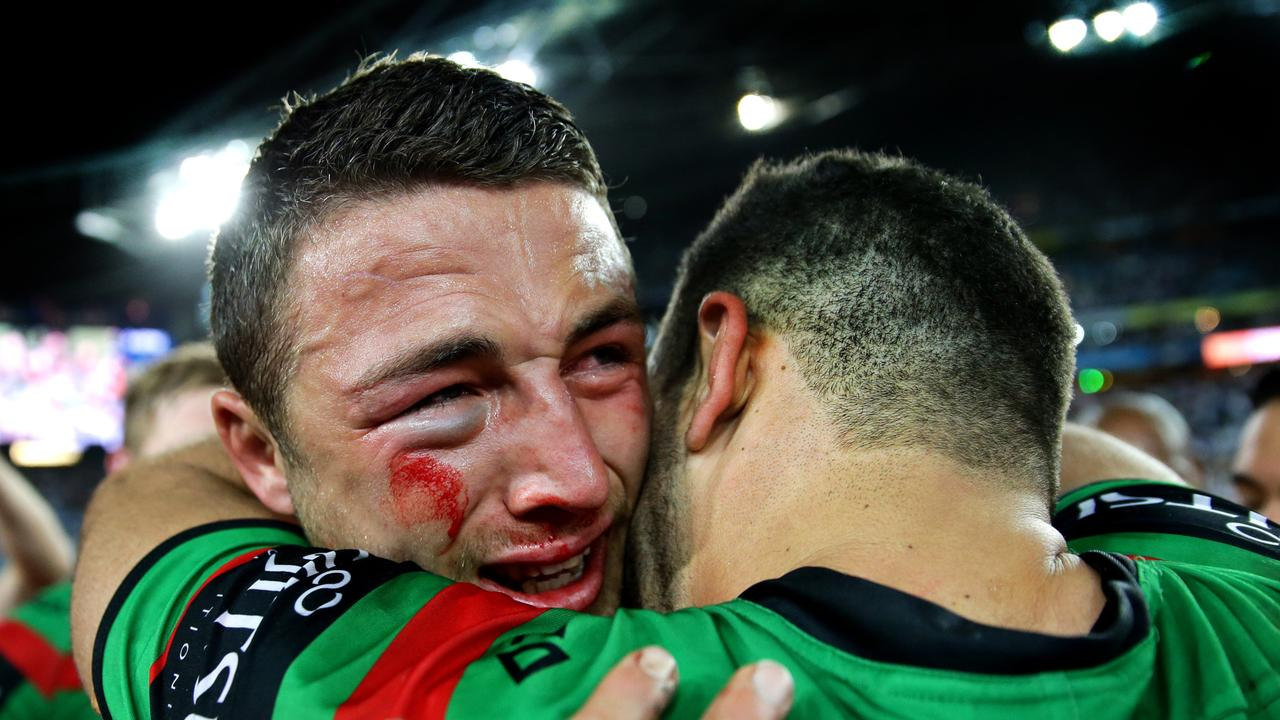 Sam Burgess in tears as he hugs Greg Inglis after winning the 2014 NRL Grand Final between the South Sydney Rabbitohs and the Canterbury Bankstown Bulldogs at ANZ Stadium .Picture Gregg Porteous
