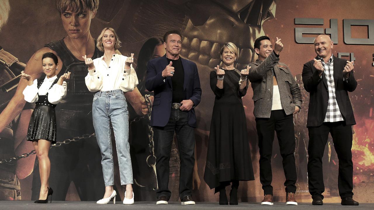 Natalia Reyes, Mackenzie Davis, Arnold Schwarzenegger, Linda Hamilton, Gabriel Luna and director Tim Miller. Picture: AP