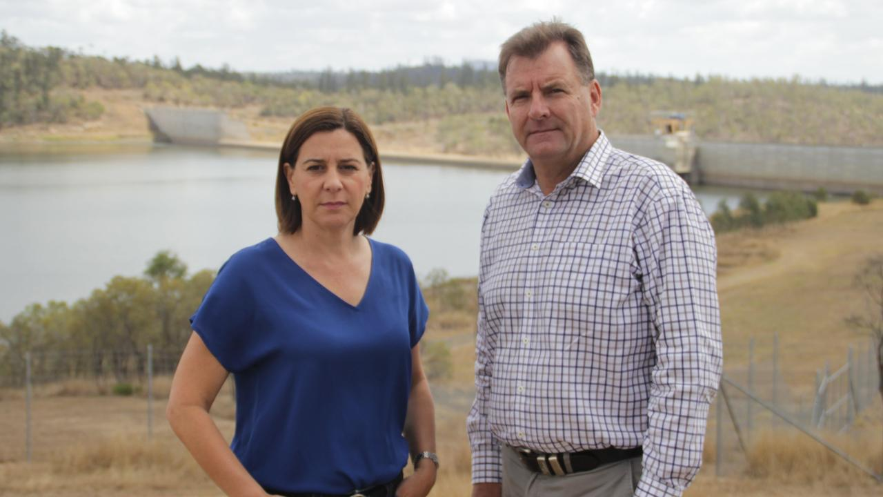 RIGHT TO KNOW: Opposition leader Deb Frecklington and Burnett MP Stephen Bennett at Paradise Dam where they said a parliamentary inquiry is necessary.