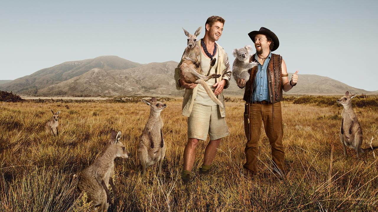 Chris Hemsworth and Danny McBride teamed up for Tourism Australia's 'Dundee: The Son of a Legend Returns Home' fake film in 2018. Picture: Tourism Australia