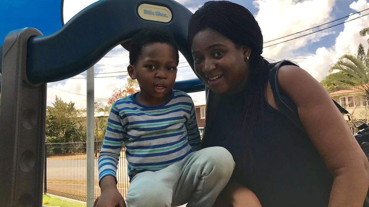 Nigerian national Linda Egbo and her son Alex enjoy playtime at Mackay's Neighbourhood Hub.