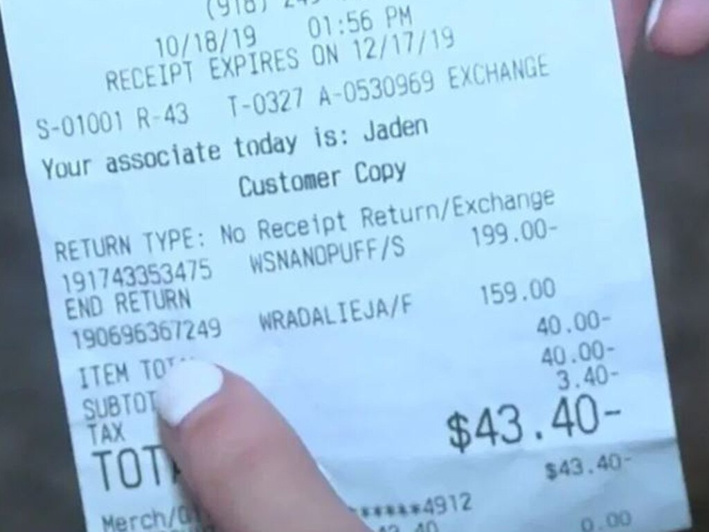 Ms Rice matched barcodes on the item and her receipt, confirming it was hers. Picture: KJRH