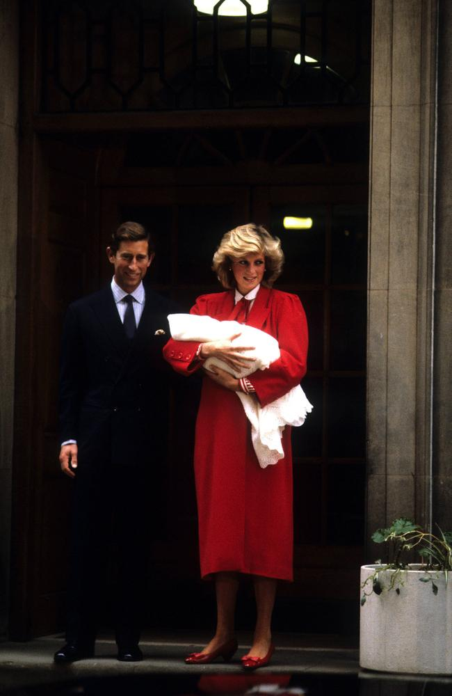 Prince Charles and Princess Diana present Harry to the world in 1984. Picture: Avalon/Getty