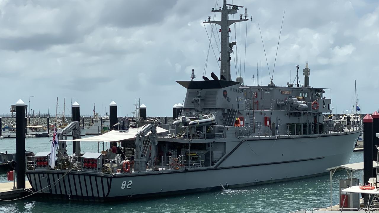 HMAS Huon, a Huon-class minehunter coastal vessel, is currently docked in Mackay.