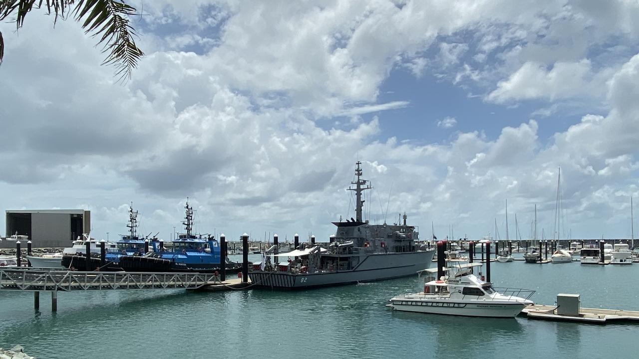 HMAS Huon, a Huon-class minehunter coastal vessel, is docked in Mackay.