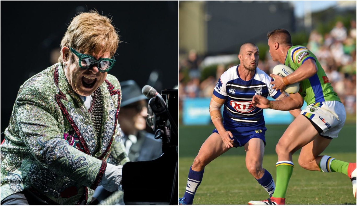 CLASH: Elton John's two concerts in Coffs Harbour fall at the same time as the Bulldogs v Raiders trial which was targeted for the town.