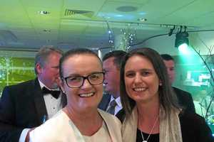 SUPPORTING EACH OTHER: The males at our table were there to support their partners; the 2018 and 2019 Tassie Truck Driver of the Year, Sarah Brosnan and Kerri Connors, pictured.
