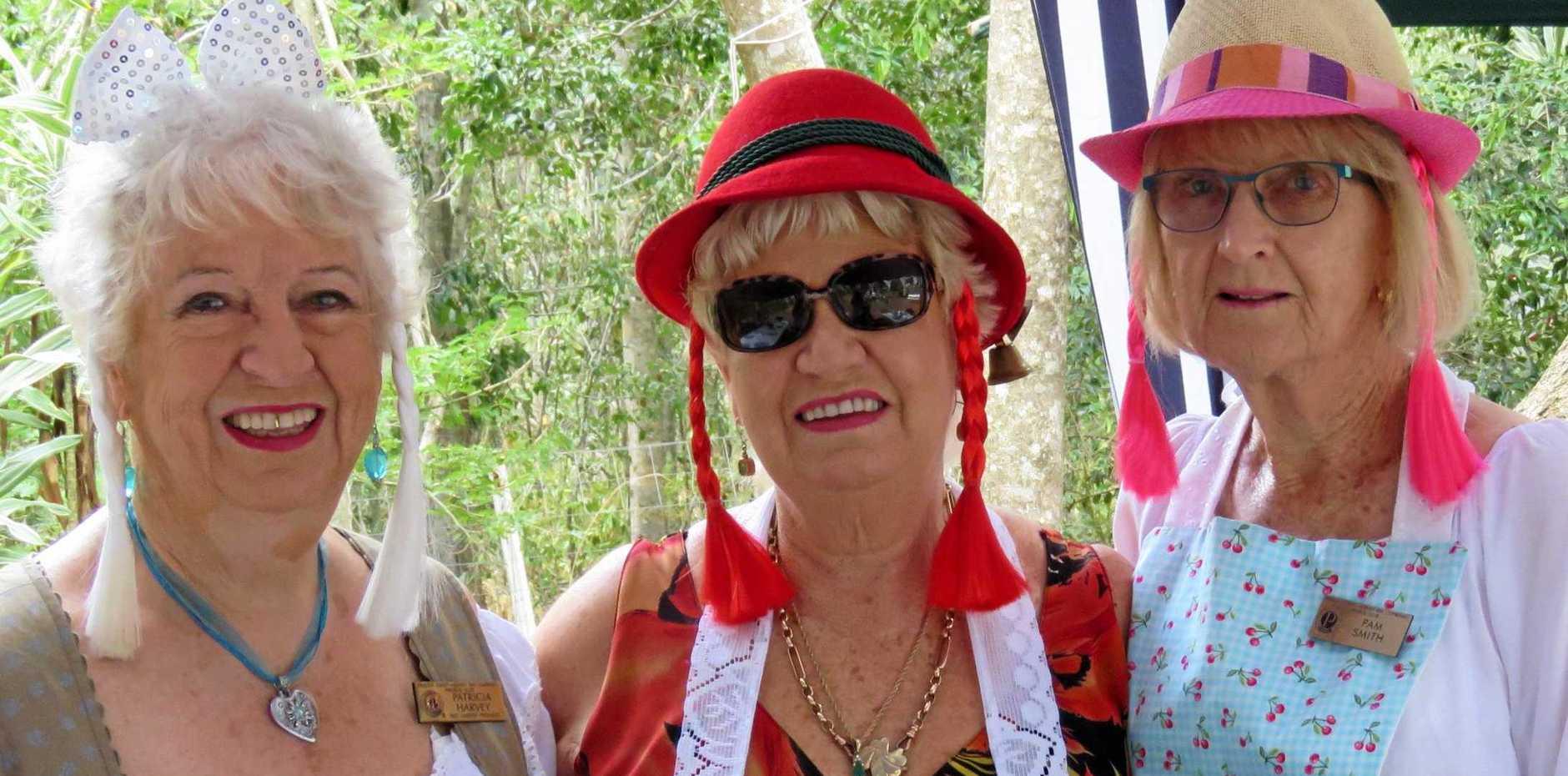 Fraser Coast-Hervey Bay Combined Probus club members Pat Harvey, Gay Ignatenka and Pam Smith joined in on the Oktoberfest Celebrations.