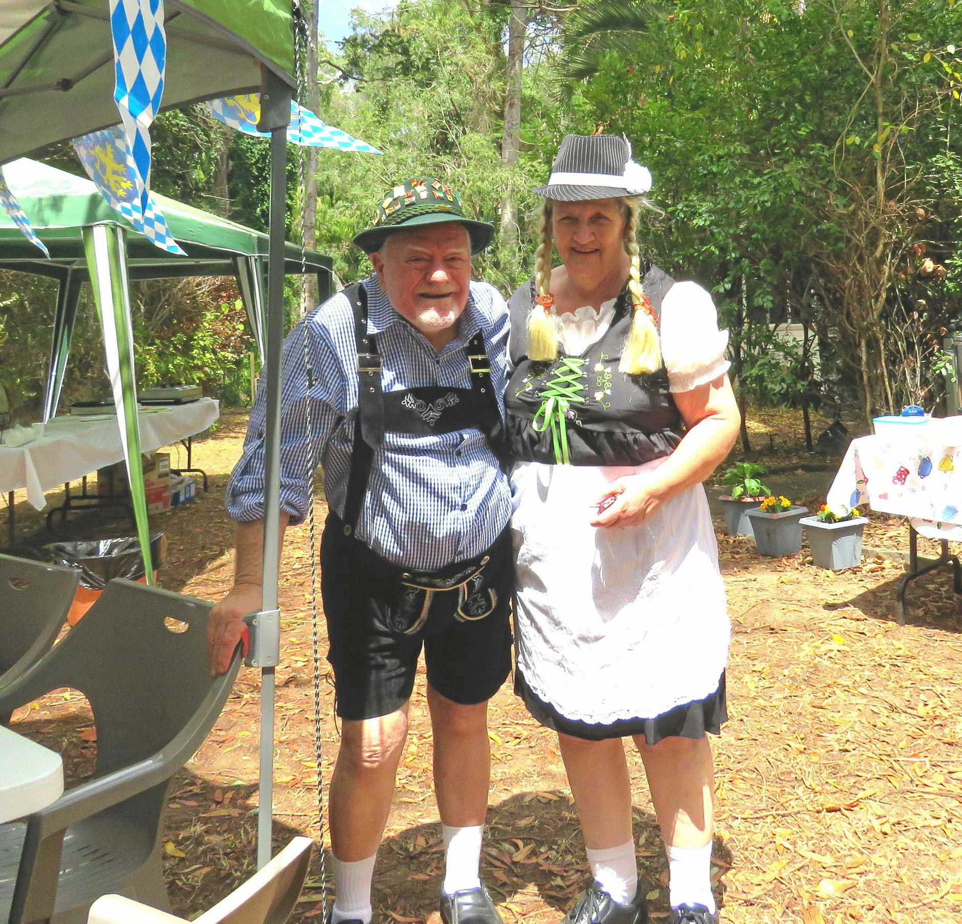 Fraser Coast-Hervey Bay Combined Probus Oktoberfest hosts, Ray and Libby Johnson.