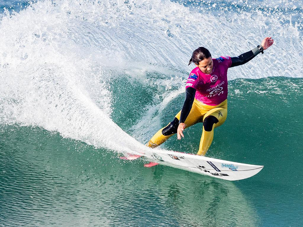 Australia's Sally Fitzgibbons taking part in the Rip Curl Pro Portugal. Picture: AAP